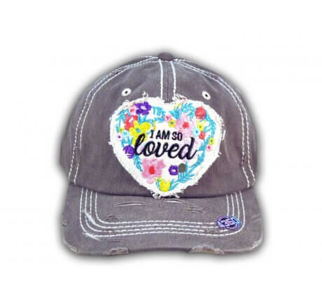 Gray I Am So Loved Vintage Washed and Distressed Baseball Cap