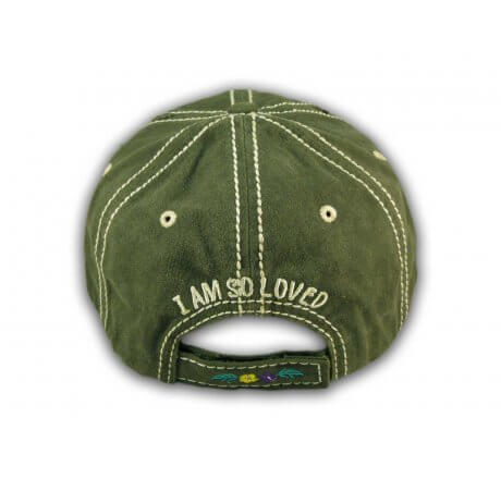 Olive Green I Am So Loved Vintage Washed and Distressed Baseball Cap