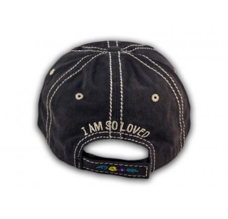 Black I Am So Loved Vintage Washed and Distressed Baseball Cap