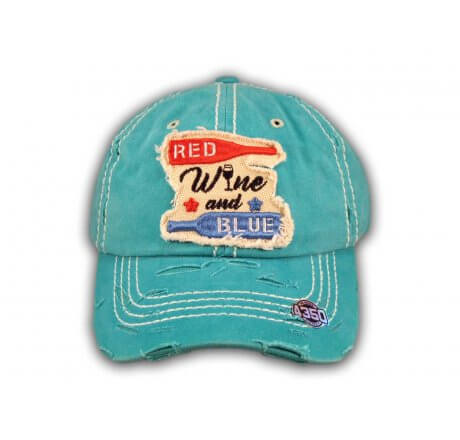 Turquoise Red Wine and Blue Washed and Distressed Baseball Cap
