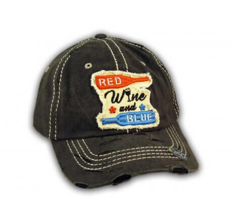 Black Red Wine and Blue Washed and Distressed Baseball Cap
