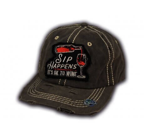 Black Sip Happens It's Ok To Wine Washed and Distressed Baseball Cap