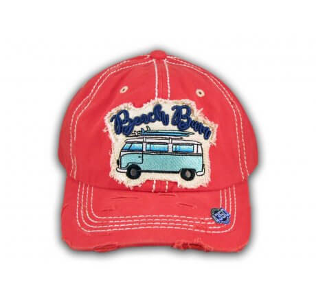 Coral Beach Bum Washed and Distressed Baseball Cap