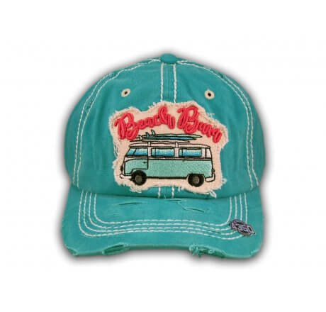 Turquoise Beach Bum Washed and Distressed Baseball Cap