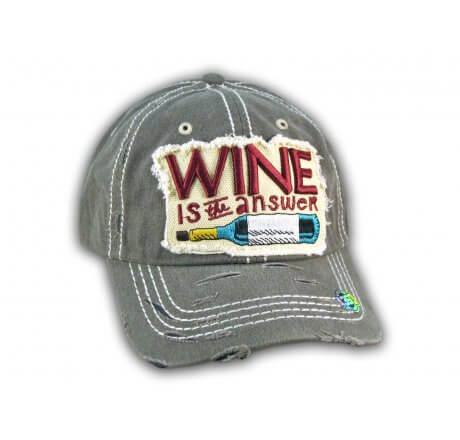 Dark Gray Wine Is The Answer Washed and Distressed Baseball Cap