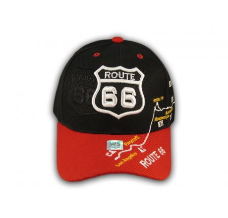 Black and Red Route 66 Ball Cap
