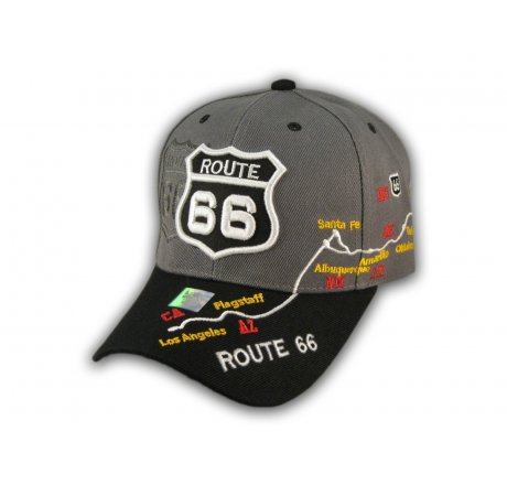 Gray and Black Route 66 Ball Cap