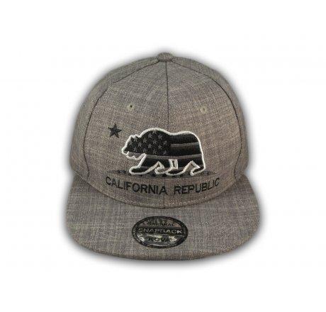Gray California Republic Bear Flat Bill Snapback Hat