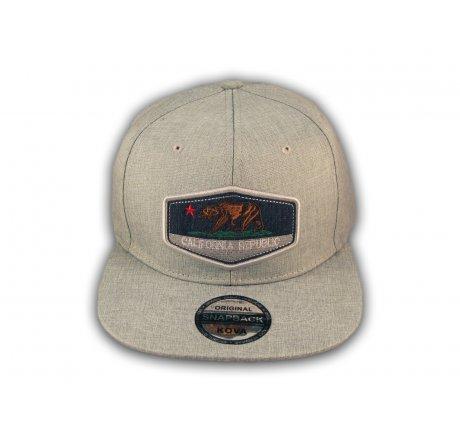 Gray California Republic Bear Snapback Hat