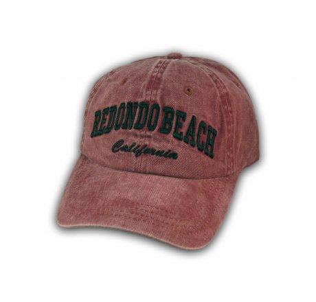 Burgundy Redondo Beach Washed Baseball Cap