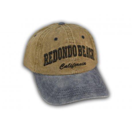 Brown and Blue Redondo Beach Washed Baseball Cap
