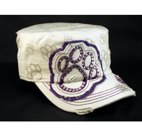 Paw Print on White Purple Cadet Castro Hat Vintage Military Army