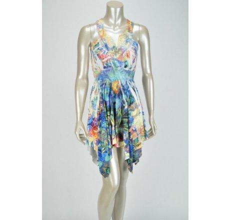 Front - Multicolor Blue Dress Lace Patch Neckline Hanki Hem Rhinestones