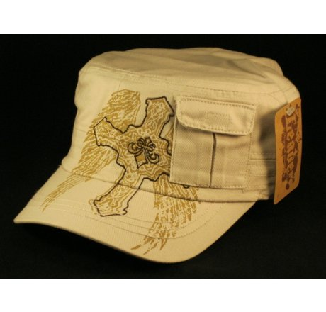 Cross on Wings Stone Cadet Cap with Pocket Vintage Distressed Visor