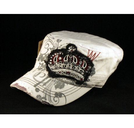 Crown on White Army Cadet Hat Castro Military Cap
