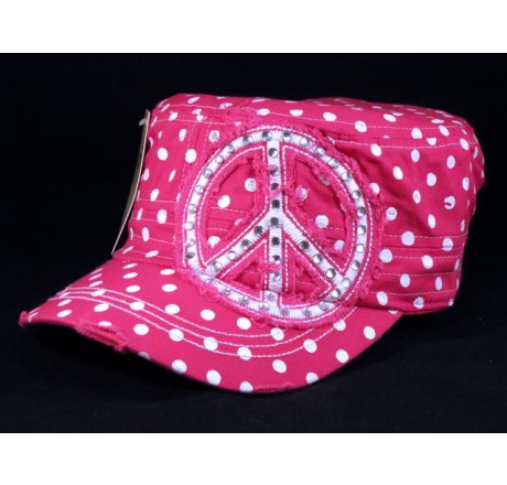 f9cc5a7fc64 Peace Sign on Pink Polka Dot Cadet Cap Distressed Visor - Printed T-Shirts