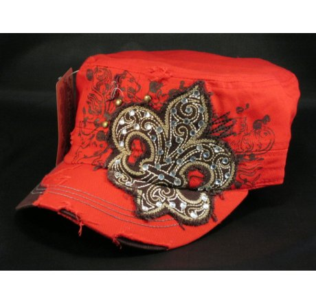 Fleur-de-lis on Red Cadet Army Distressed Military Cap