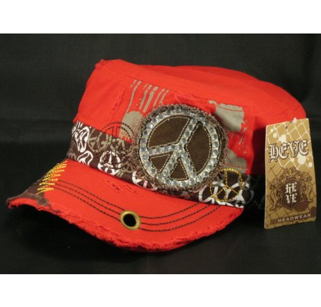 Peace Sign on Red Army Cadet Hat Vintage Castro Cap