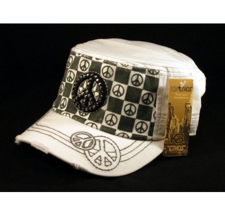 Peace Sign on Checker Board on White Army Cadet Hat Military Cap
