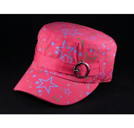 Pink Cadet Cap with Colored Stars and Buckle