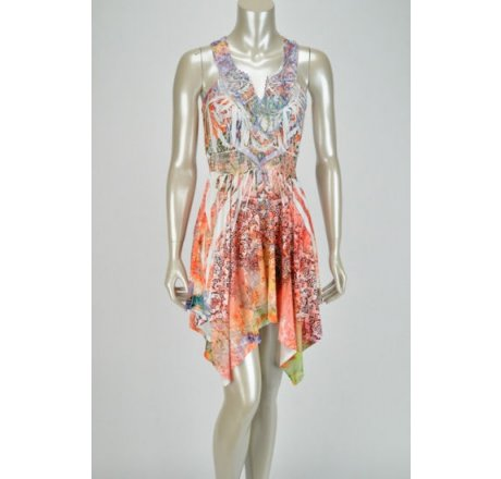 Front - Multicolor Peach, Pink and Orange Dress with Lace Patch Neckline
