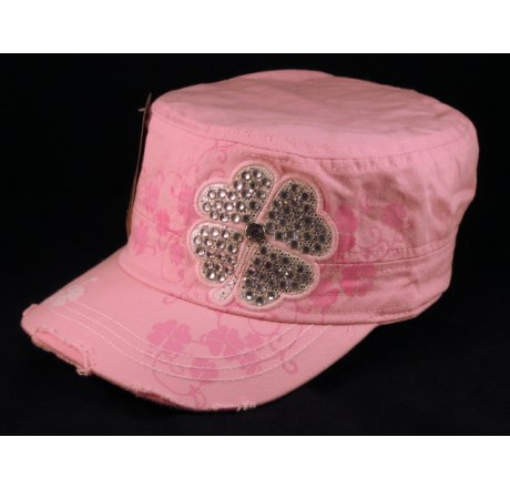 Shamrock on Pink Army Cadet Cap Castro Military Hat