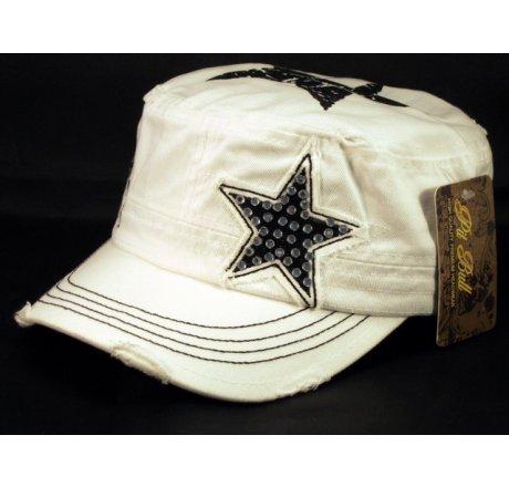 Star on White Army Cadet Hat Vintage Castro Cap