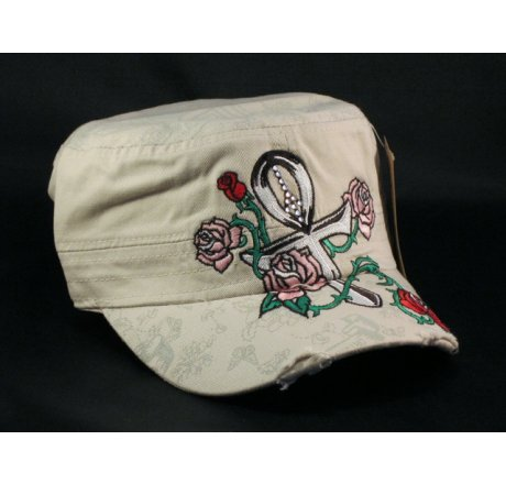 Ankh on Stone Color Cadet Cap Pink Rose Army Hat Military Cap
