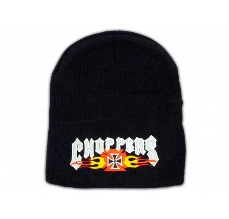 Knitted Black Beanie with Choppers
