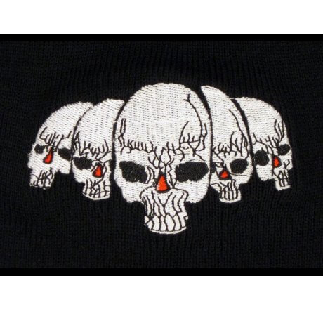 Knitted Black Beanie with White Skulls