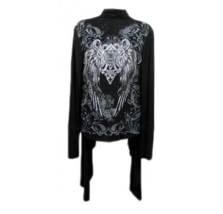 Back - Black Shawl Fleur-de-lis Wings Jewels Waist Length Long Sleeve