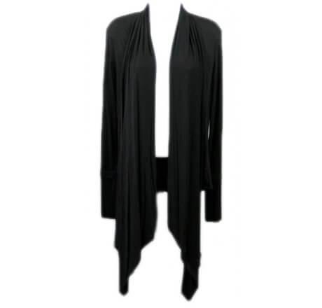 Front - Black Shawl Fleur-de-lis Wings Jewels Waist Length Long Sleeve