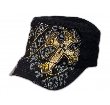 Black Cadet Cross Castro Cap Military Army Hat Vintage Visor Jewel