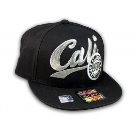 Black California Republic Snapback Embroidered Hat 3D Cali Bear
