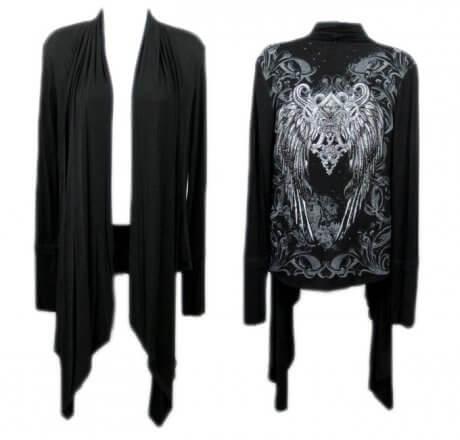 Black Shawl Fleur-de-lis Wings Jewels Waist Length Long Sleeve