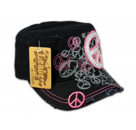Peace Sign on Black Cadet Cap with Vintage Distressed Visor