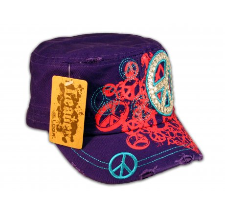 Purple Cadet Castro Cap Peace Sign Military Army Hat Vintage Jewels