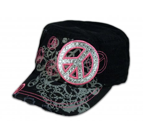 Peace Sign on Black Cadet Cap with Vintage Distressed Visor - Printed  T-Shirts b870e13b206