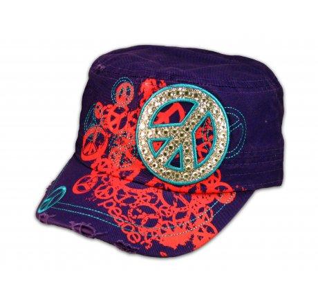 Purple Cadet Castro Cap Peace Sign Military Army Hat Vintage Jewels