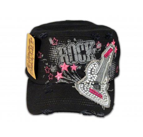 Rock Guitar on Black Cadet Cap with Vintage Distressed Visor