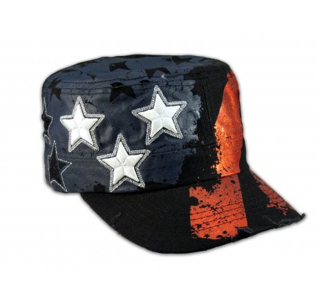 Black Stars and Stripes on Cadet Cap Vintage Army Hat Distressed