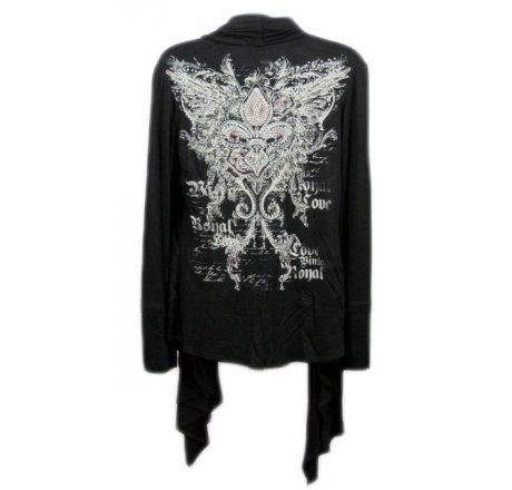 Back - Black Jeweled Shawl with Fleur-de-lis and Wings