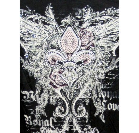 Detail - Black Jeweled Shawl with Fleur-de-lis and Wings