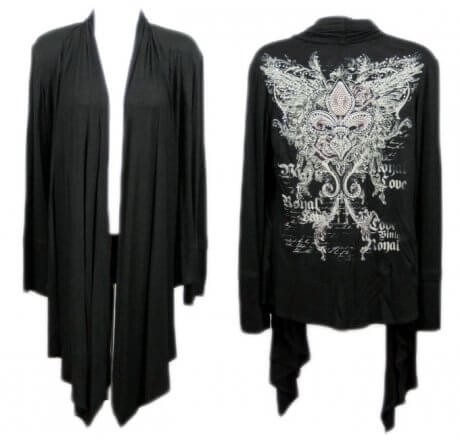 Black Jeweled Shawl with Fleur-de-lis and Wings
