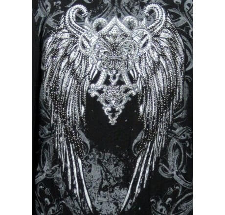 Detail - Black Shawl Fleur-de-lis Wings Jewels Waist Length Long Sleeve