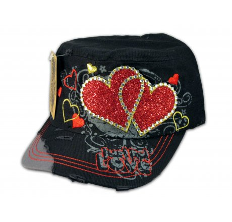Black Cadet Cap Red Hearts Army Hat Vintage Distressed Visor
