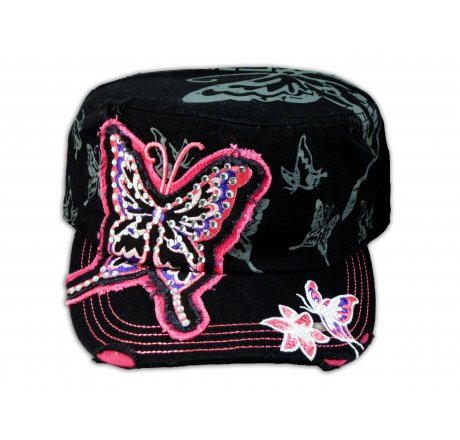 Black Cadet Pink Butterfly Castro Cap Army Hat Vintage Visor Jewel