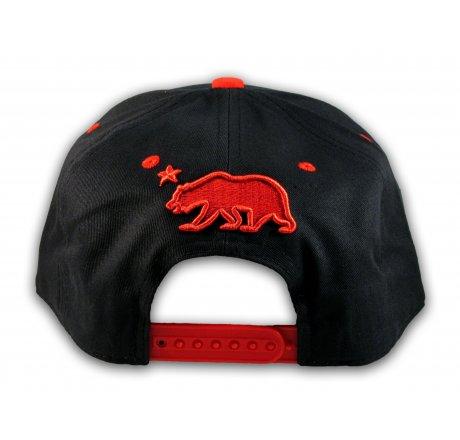 Black and Red California Republic Snapback Hat 3D Cali Bear