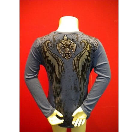 Blue Crewneck Shirt with Print and Rhinestones