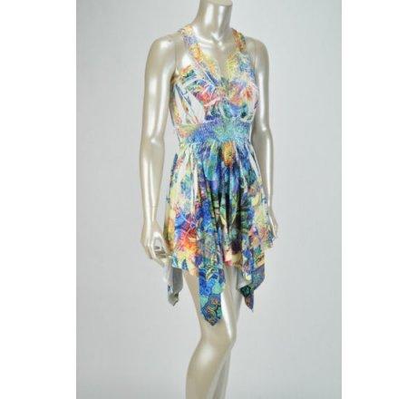 Side - Multicolor Blue Dress Lace Patch Neckline Hanki Hem Rhinestones